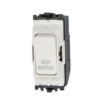 MK 20A Printed Double Pole Switch Module - Dishwasher - White