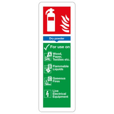 Fire Extinguisher Sign - Dry Powder - 300 x 100mm - Rigid Plastic)