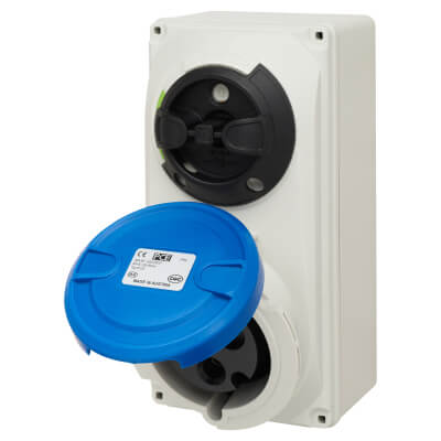 32A 2 Pin and Earth Surface Socket and Isolator - Blue)