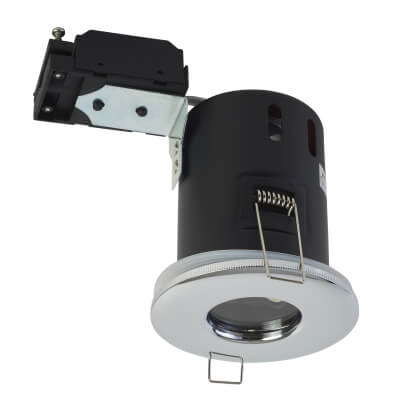 GU10 Fixed Fire Rated Downlight - IP65 - Polished Chrome)