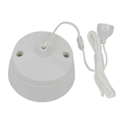 6A 2 Way Pull Cord Switch - White)