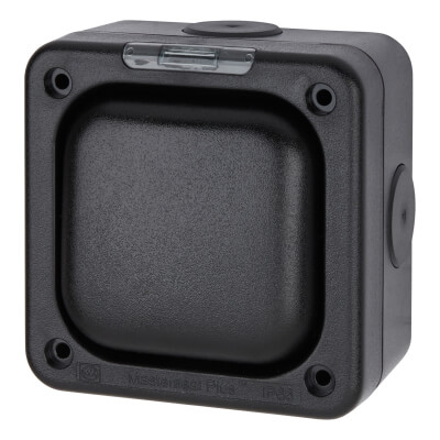 MK Masterseal Plus 10A IP66 1 Gang 2 Way Outdoor Switch - Black)