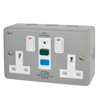 Europa 13A 2 Gang Metal Clad RCD Socket - Grey)