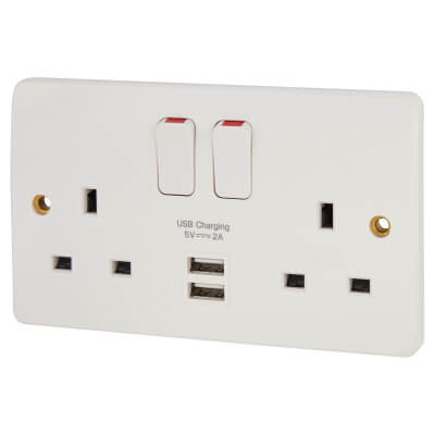 MK 13A 2 Gang Douple Pole Switched Socket with 2 x USB - 2A - White)