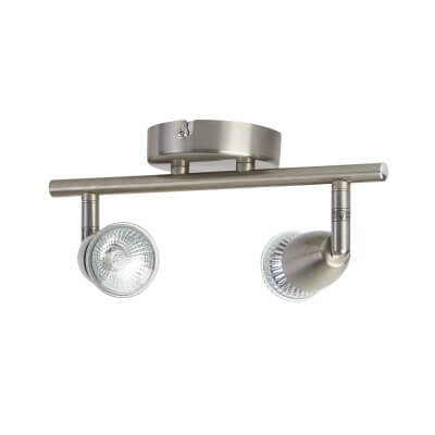 2 x 50W Bar Spotlight - 2 Lights - Satin Nickel )