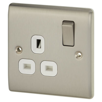 BG 13A 1 Gang Switched Socket - White Insert - Brushed Steel