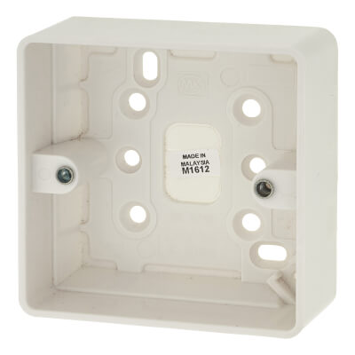 MK 1 Gang Moulded Surface Box without Earth Terminal - 30mm - White)