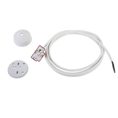 Hager Klik 6A 4 Pin Plug in Ceiling Rose with 3000mm Lead - White)