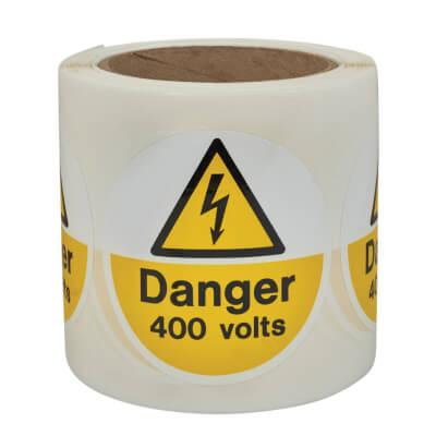 Danger 400 Volts - Self-Adhesive Vinyl Label - 80 x 80mm