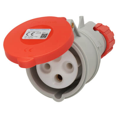 16A 3 Pin and Earth Trailing Socket - Red)