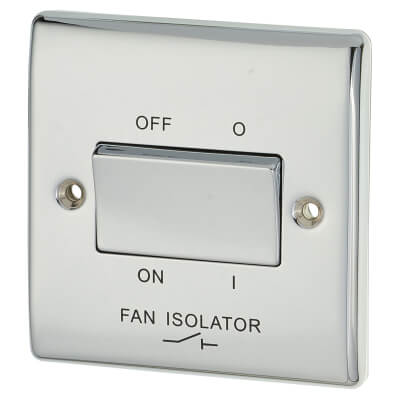 BG 10A 1 Gang 3 Pole Fan Isolator Switch - Polished Chrome)