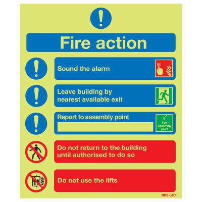 NITE GLO Symbolised Fire Action Notice - 300 x 250mm - Rigid Plastic)