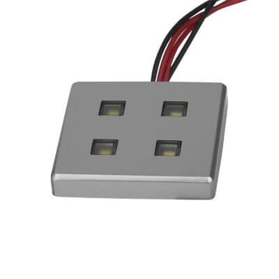 Quad LED - 38 x 38mm - Brushed Chrome)