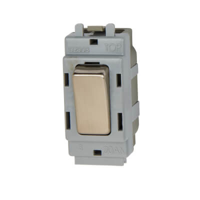 BG 20A 2 Way Double Pole Grid Switch Module - Brushed Steel