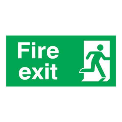 Fire Exit - Running Man Right - 150 x 300mm - Rigid Plastic)