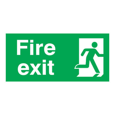 Fire Exit - Running Man Right - 150 x 300mm - Rigid Plastic)