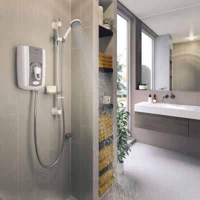 Triton Omnicare Shower 9.5kW with Grab Kit - White)