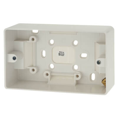 MK 2 Gang Moulded Surface Pattress Box with Earth Terminal - 40mm - White)