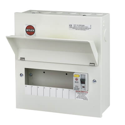 Wylex 100A 30mA Amendment 3 RCD Metal Consumer Unit - 8 Way