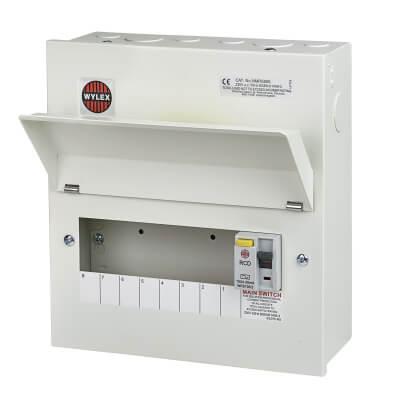 Wylex 100A 30mA Amendment 3 RCD Metal Consumer Unit - 8 Way)