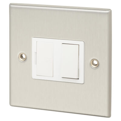 Contactum 13A 1 Gang Double Pole Switched Connection Unit - Brushed Steel with White Insert)