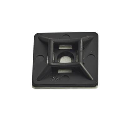 Cable Tie Self Adhesive Pad - 19 x 19mm - Black - Pack 100
