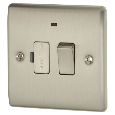 BG 13A 1 Gang Switched Fuse Spur Unit with Neon - Brushed Steel)