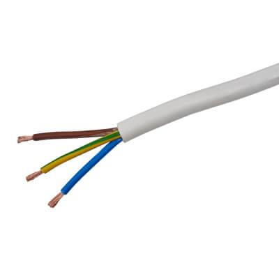 3183Y 3 Core Round Flex Cable - 0.75mm² x 100m - White)