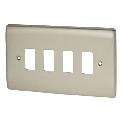 BG 4 Gang Grid Front Plate - Brushed Steel )