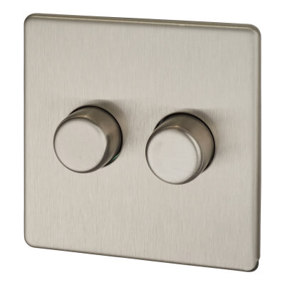 BG Screwless Flatplate 400W 2 Gang 2 Way Dimmer Switch - Brushed Steel )