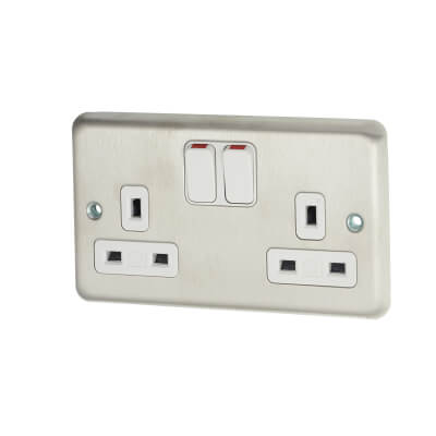 MK 13A 2 Gang Double Pole Switched Socket - Brushed Stainless Steel)