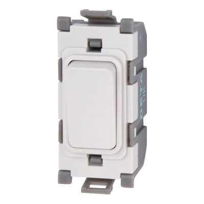 Deta 20A Double Pole Switch Module - Blank - White