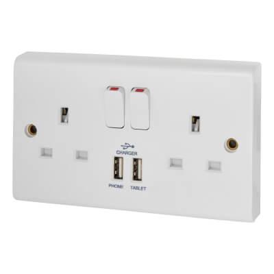Deta 13A 2 Gang Switched USB Socket - White)