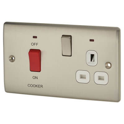 BG 45A Double Pole Cooker Control Unit with Neon - Brushed Steel)