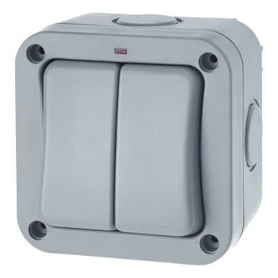 BG 20A IP66 2 Gang 2 Way Weatherproof Switch - Grey)