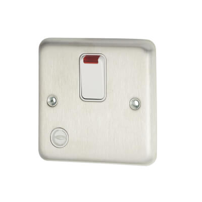 MK 13A 1 Gang Switched Fused Spur Unit with Flex Outlet - Brushed Stainless Steel)