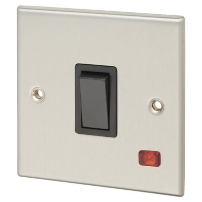 Contactum 20A 1 Gang Double Pole Control Switch with Neon - Brushed Steel with Black Insert)