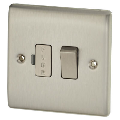 BG 13A 1 Gang Switched Fuse Spur Unit - Brushed Stainless Steel)