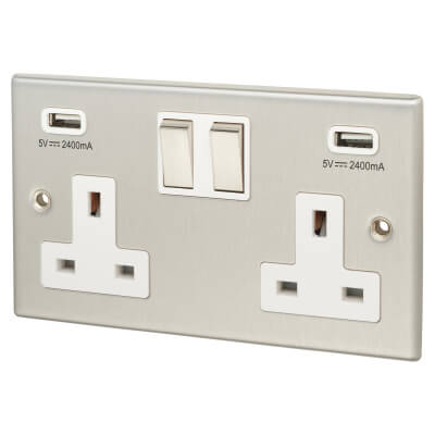 Contactum 2 Gang Switched Socket with 2 x USB - 4.8A - Brushed Steel with White Insert)