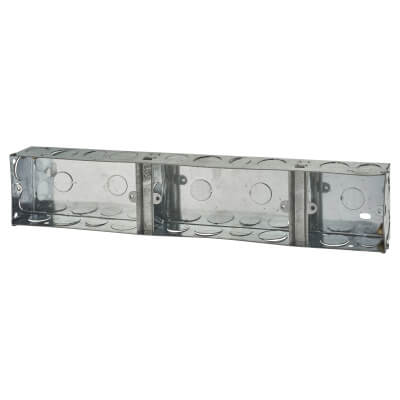 2+2+1 Gang Knockout Back Box - 35mm - Galvanised