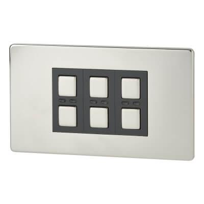 LightwaveRF 3 Gang Dimmer Switch - Chrome)