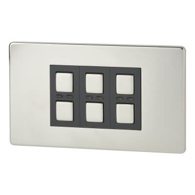 LightwaveRF 3 Gang Smart Dimmer Switch - Chrome)