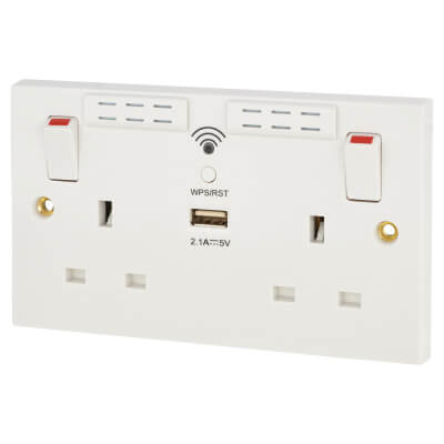 BG 13A 2 Gang Wi-Fi Extender Socket with 1 x USB - 2.1A - White)