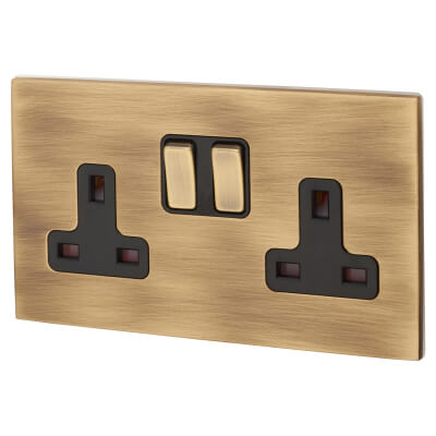 Hamilton 13A 2 Gang Screwless Switched Socket  - Antique Brass with Black Inserts)