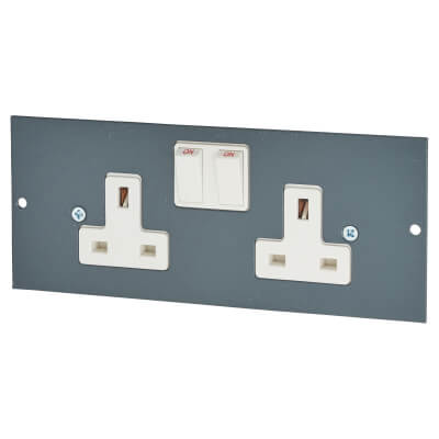 Tass 13A 2 Gang Commercial Floor Box Socket)