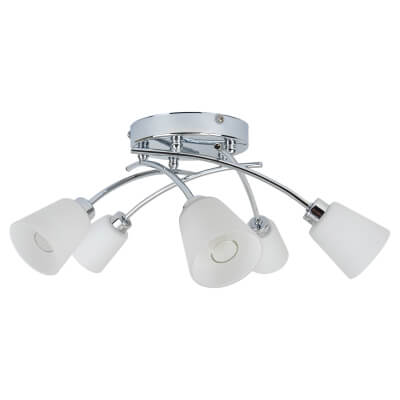 Tucana 5 x 28W G9 Bathroom Ceiling Light - Polished Chrome)