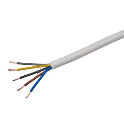 3185Y 5 Core Round Flex Cable - 0.75mm² x 50m - White)
