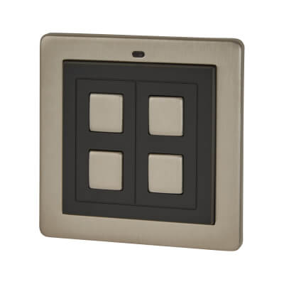 LightwaveRF 2 Gang Wire Free Switch - Stainless Steel)