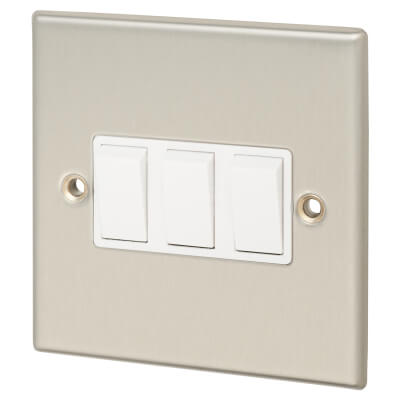 Contactum 10A 3 Gang 2 Way Plate Switch - Brushed Steel with White Insert)