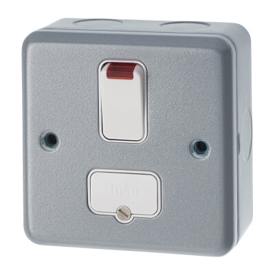 MK 13A 1 Gang Double Pole Metalclad Switched Fused Connection Unit with Neon - Grey)